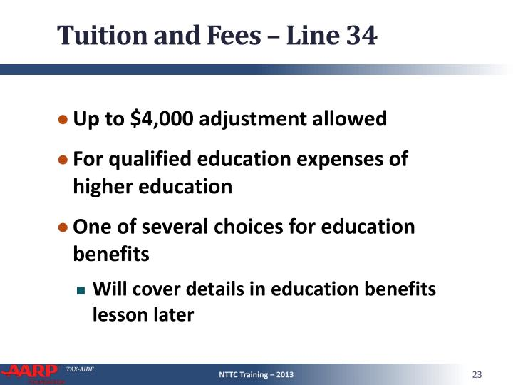 Tuition and Fees – Line 34