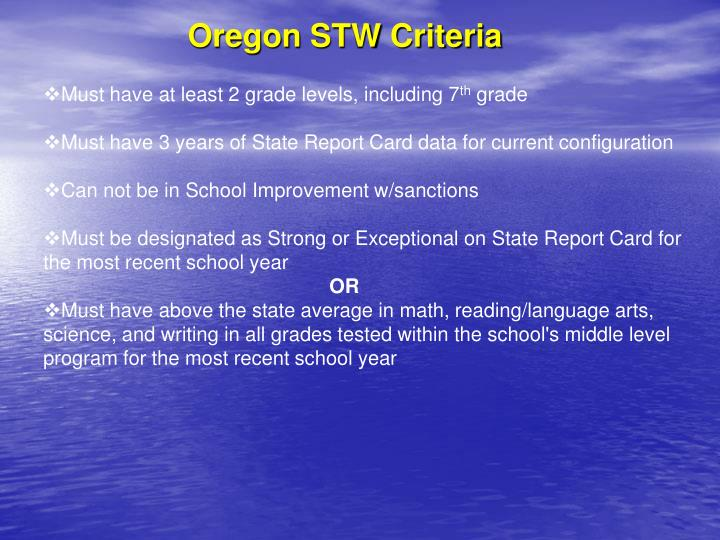 Oregon STW Criteria