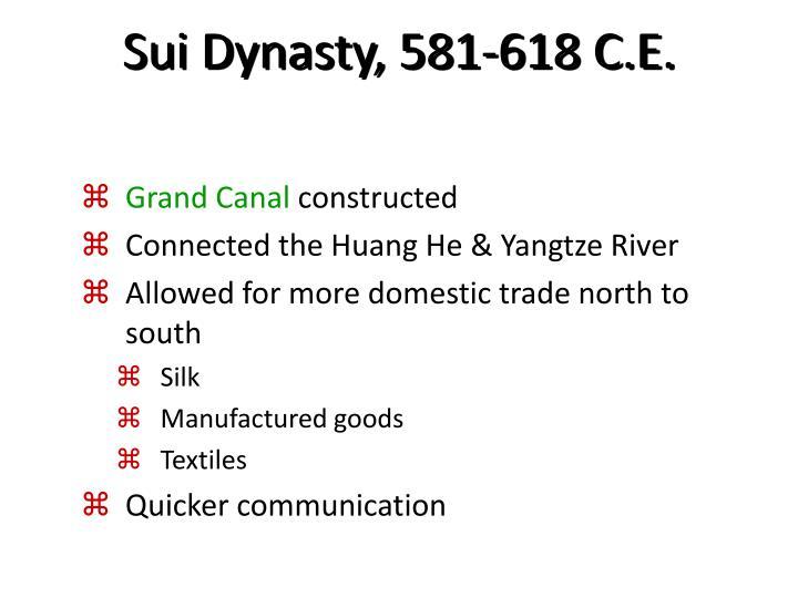 Sui Dynasty, 581-618 C.E.