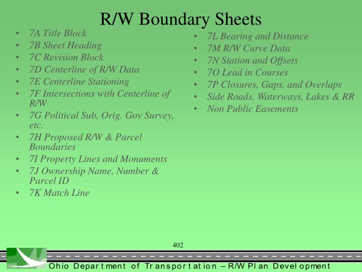 R/W Boundary Sheets