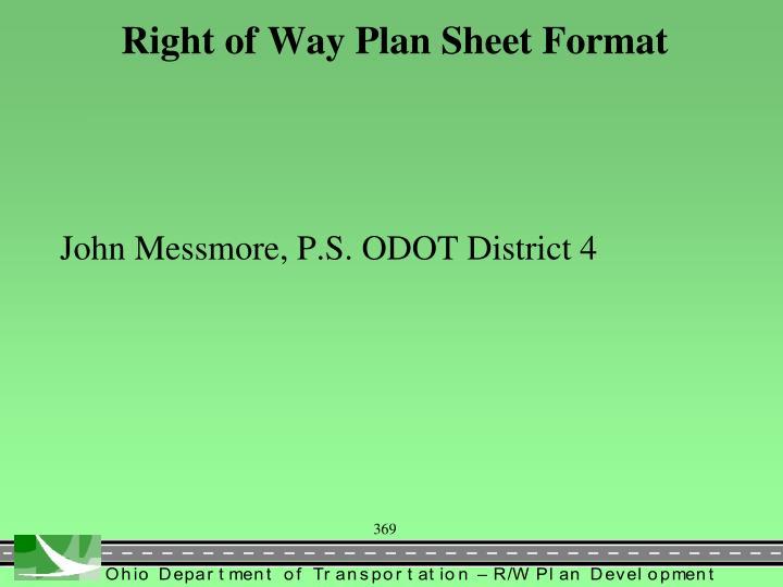 Right of Way Plan Sheet Format