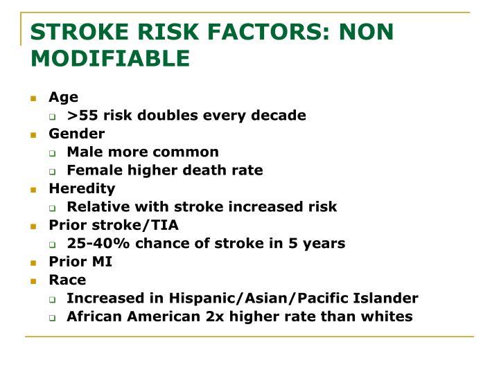 STROKE RISK FACTORS: NON  MODIFIABLE