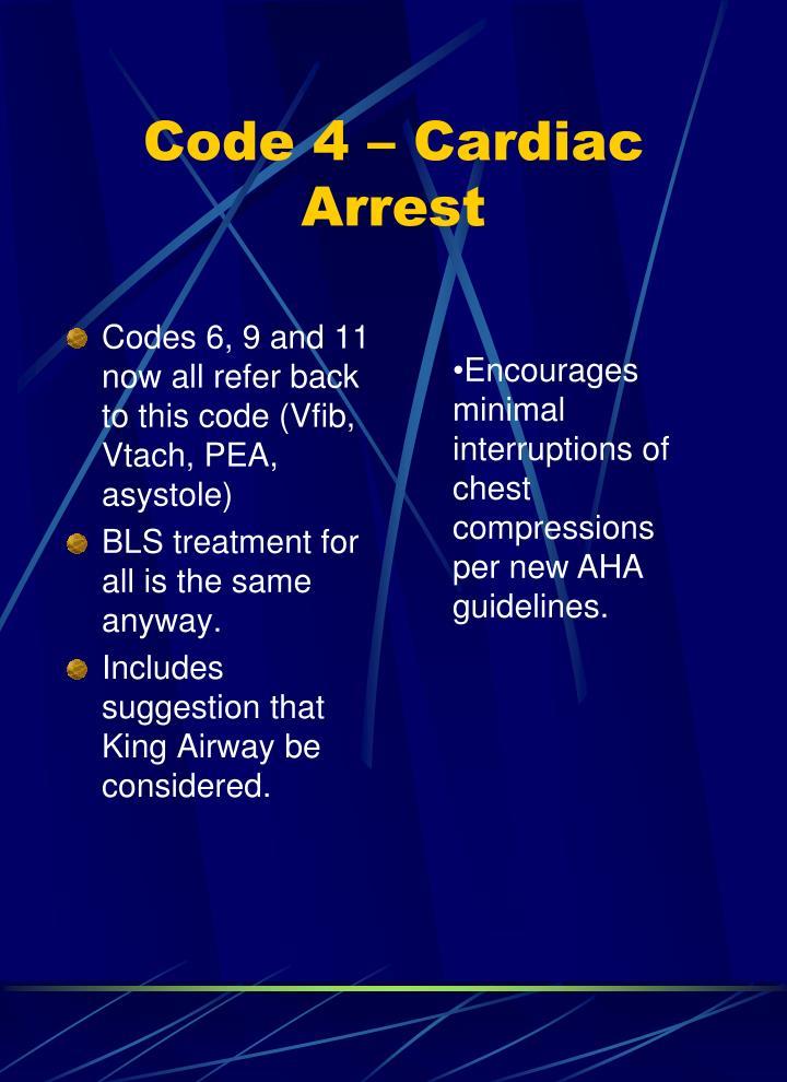 Code 4 – Cardiac Arrest