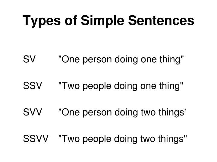 Types of Simple Sentences