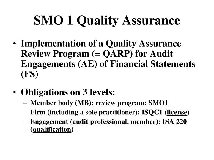 SMO 1 Quality Assurance