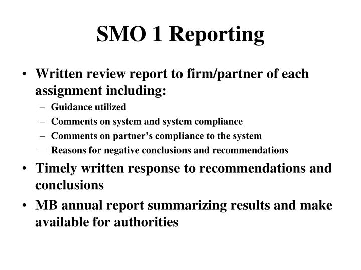 SMO 1 Reporting