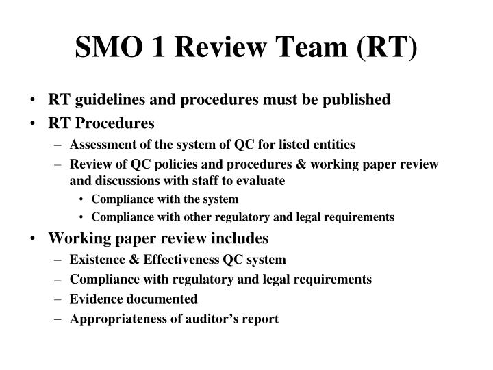 SMO 1 Review Team (RT)