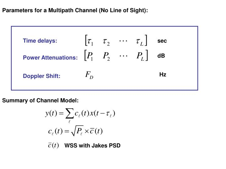 Parameters for a Multipath Channel (No Line of Sight):