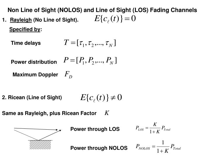 Non Line of Sight (NOLOS) and Line of Sight (LOS) Fading Channels
