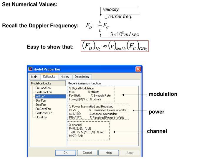 Set Numerical Values: