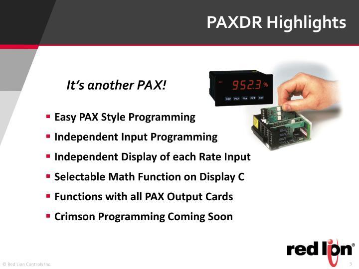 PAXDR Highlights