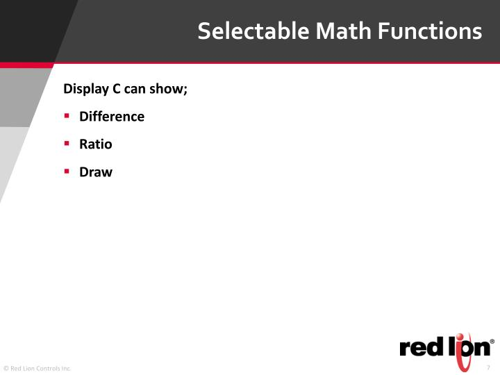 Selectable Math Functions