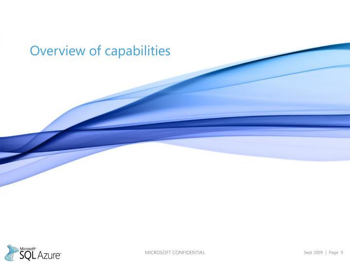 Overview of capabilities