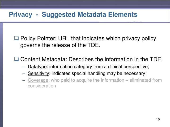 Privacy  -  Suggested Metadata Elements