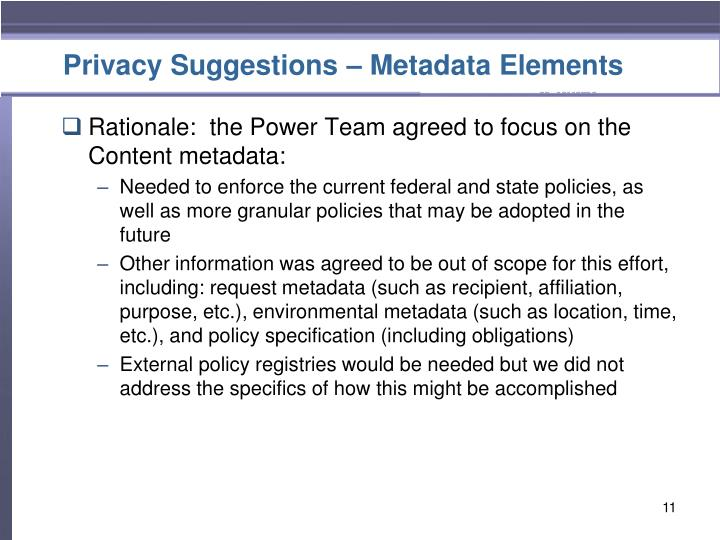 Privacy Suggestions – Metadata Elements