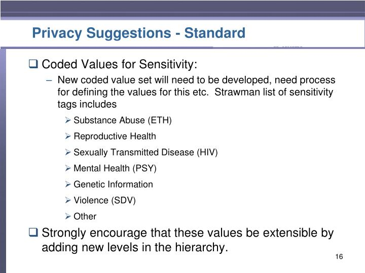 Privacy Suggestions - Standard