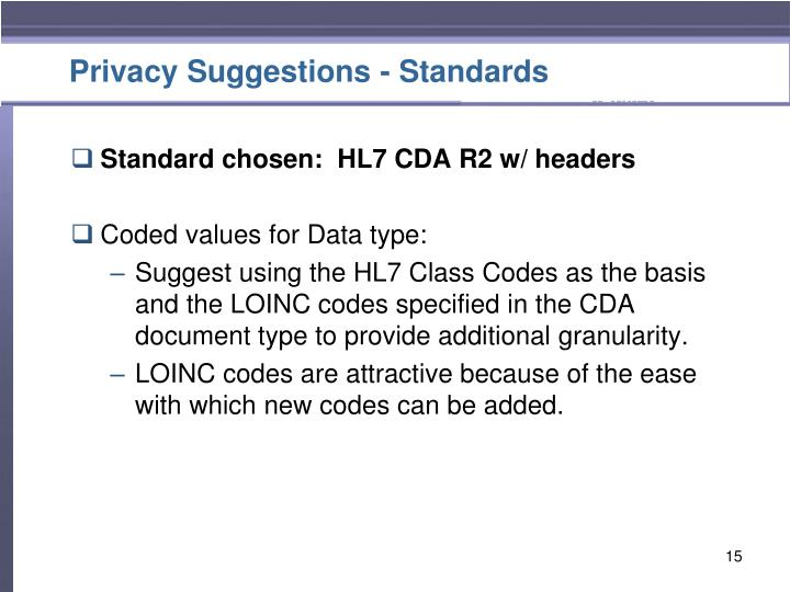 Privacy Suggestions - Standards