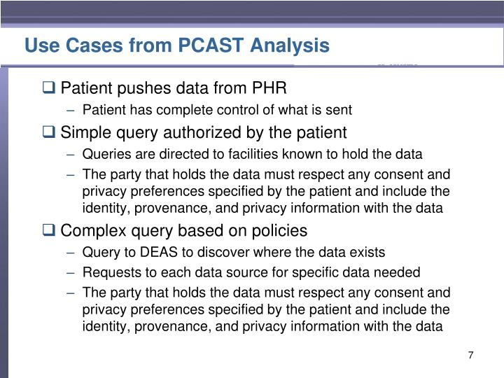 Use Cases from PCAST Analysis