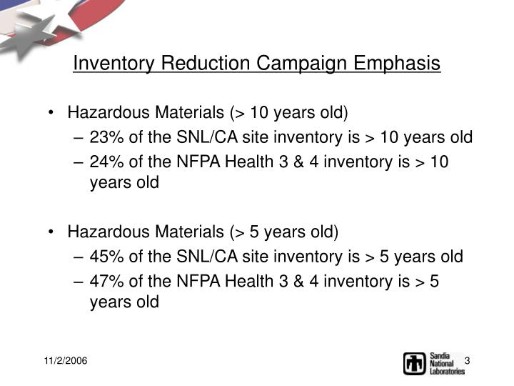Inventory Reduction Campaign Emphasis