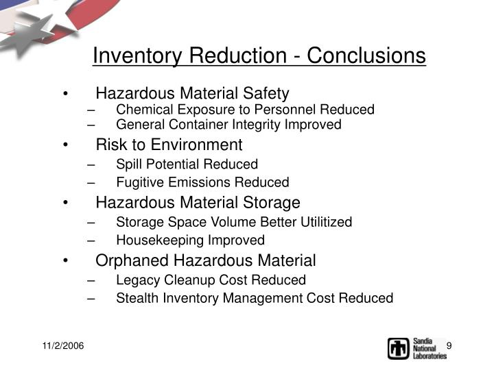 Inventory Reduction - Conclusions