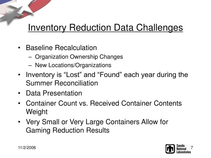 Inventory Reduction Data Challenges