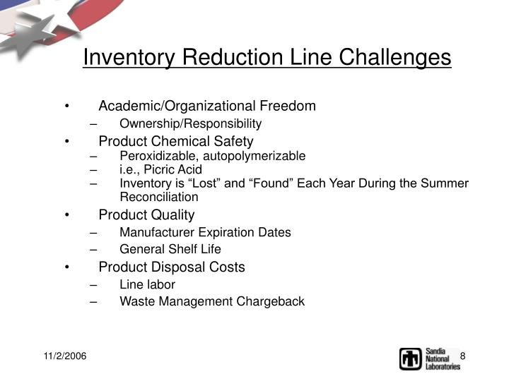 Inventory Reduction Line Challenges