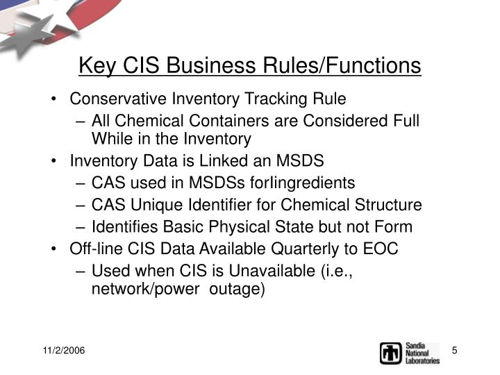 Key CIS Business Rules/Functions