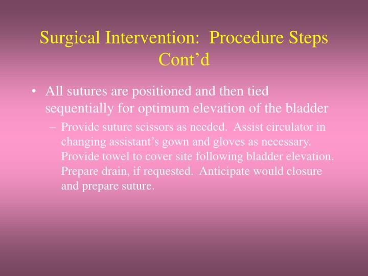 Surgical Intervention:  Procedure Steps Cont'd