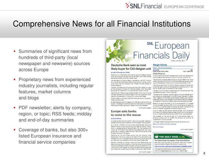 Comprehensive News for all Financial Institutions