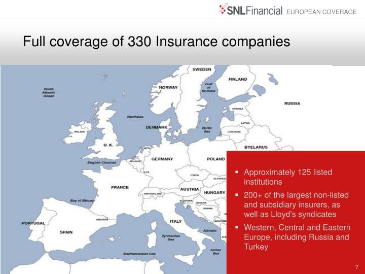 Full coverage of 330 Insurance companies