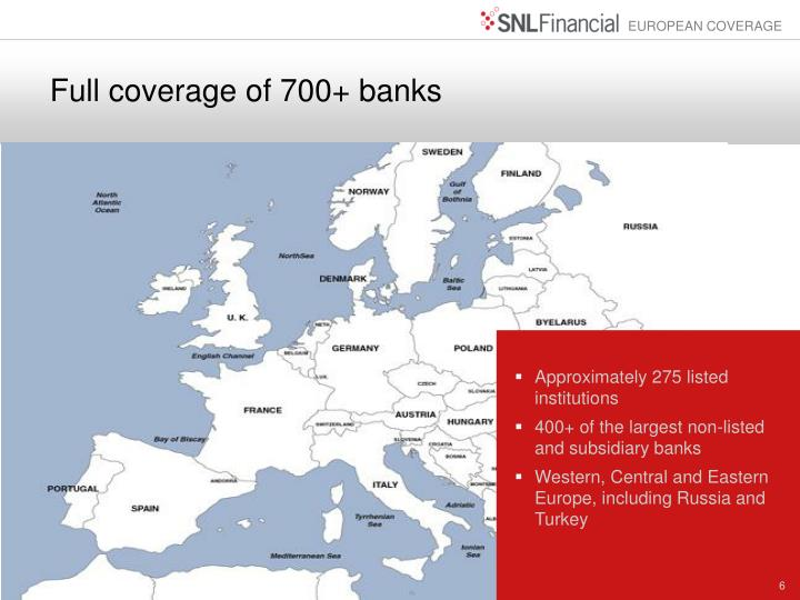 Full coverage of 700+ banks