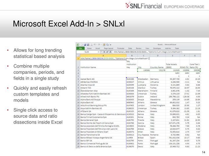 Microsoft Excel Add-In > SNLxl