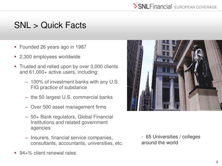 SNL > Quick Facts