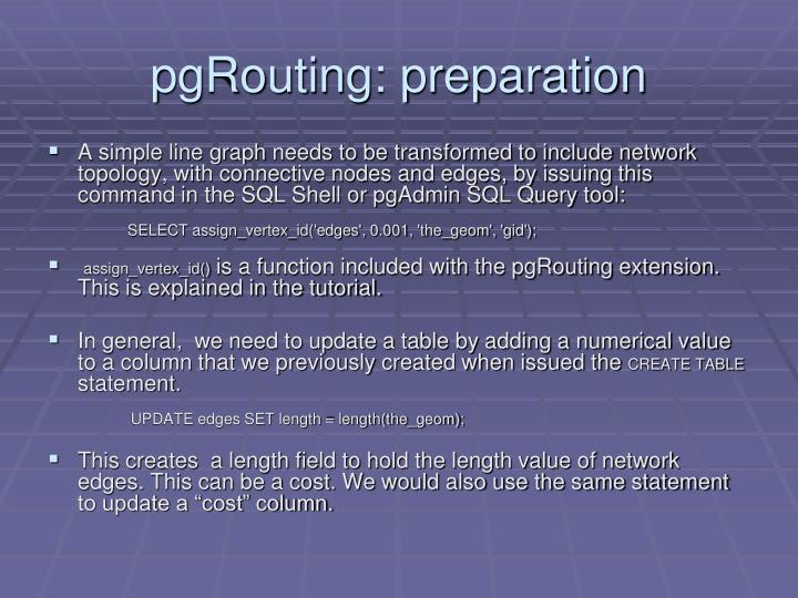 pgRouting: preparation