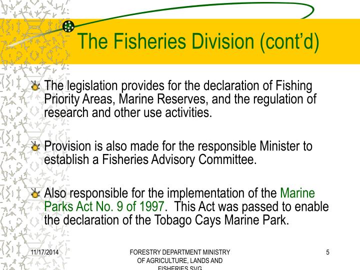 The Fisheries Division (cont'd)