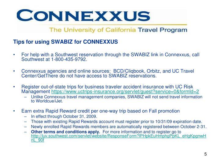 Tips for using SWABIZ for CONNEXXUS
