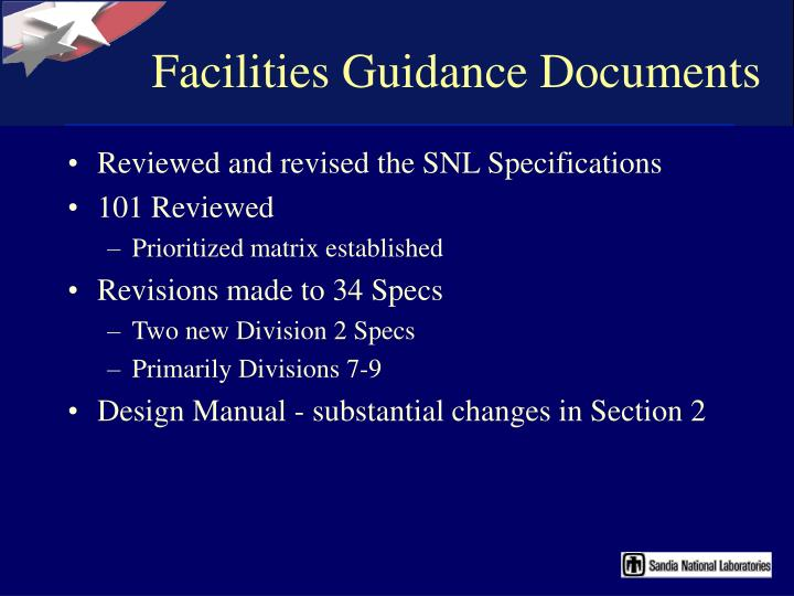Facilities Guidance Documents
