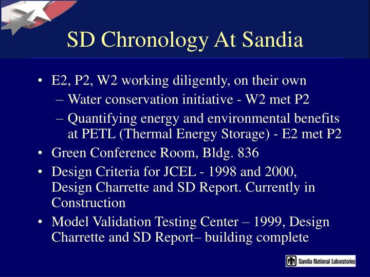 SD Chronology At Sandia