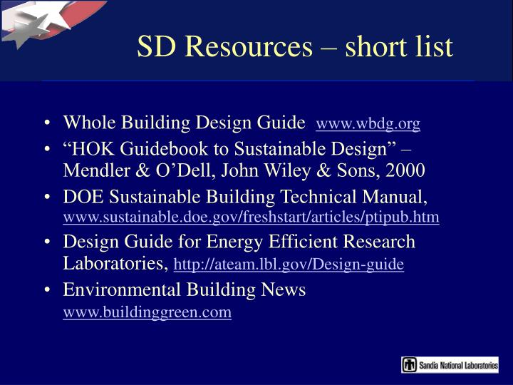 SD Resources – short list