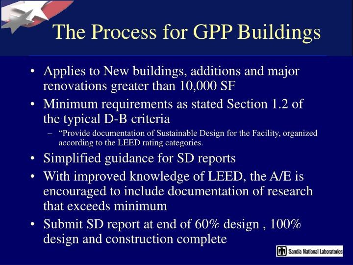 The Process for GPP Buildings