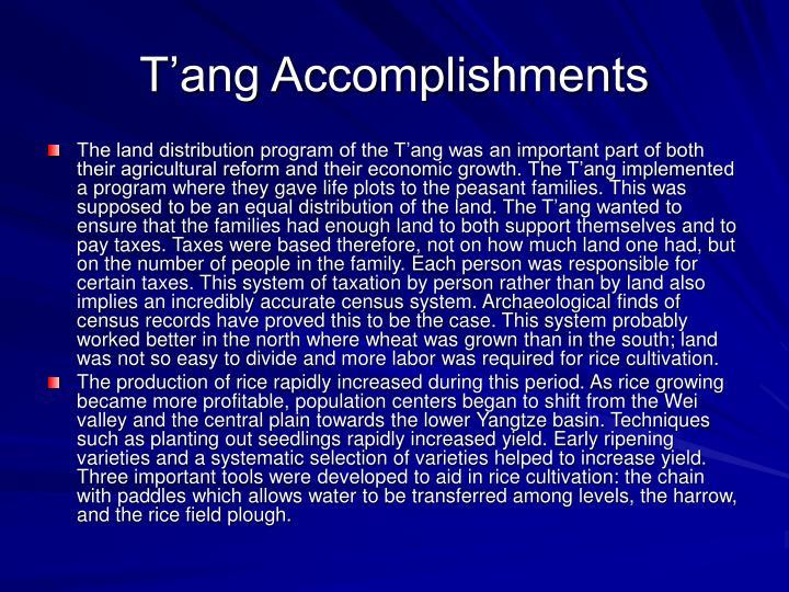 T'ang Accomplishments