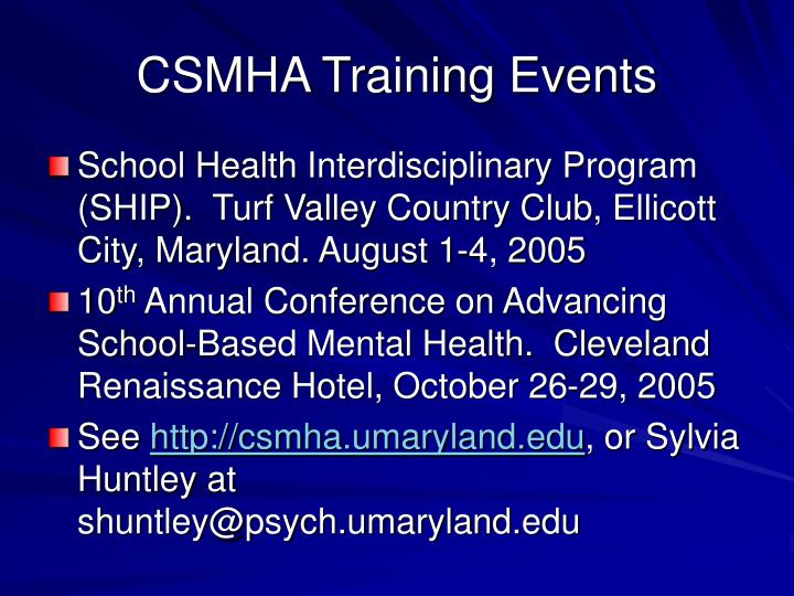 CSMHA Training Events