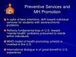 preventive services and mh promotion