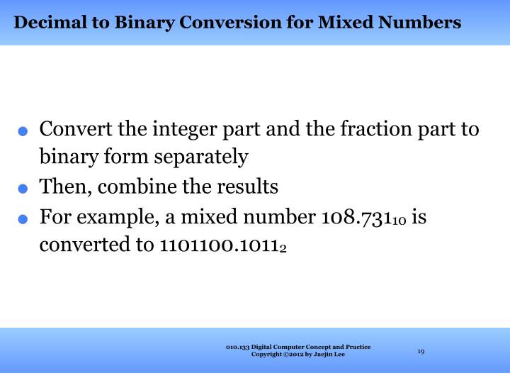 Decimal to Binary Conversion for Mixed Numbers