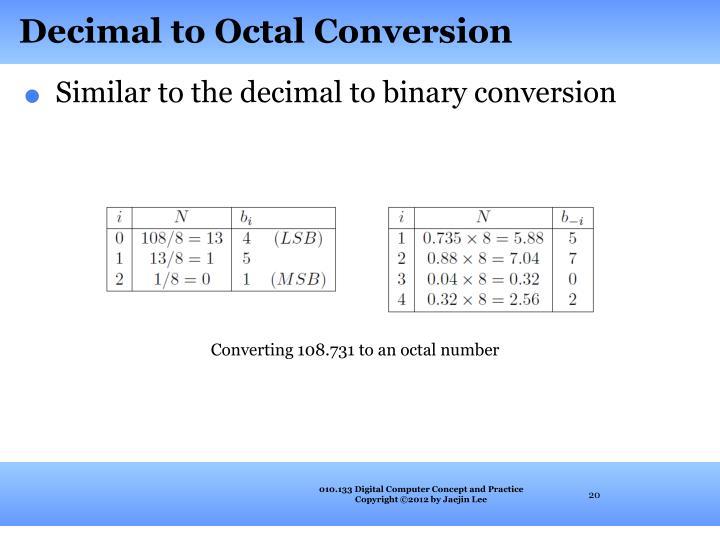 Decimal to Octal Conversion