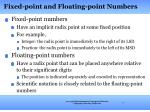 fixed point and floating point numbers