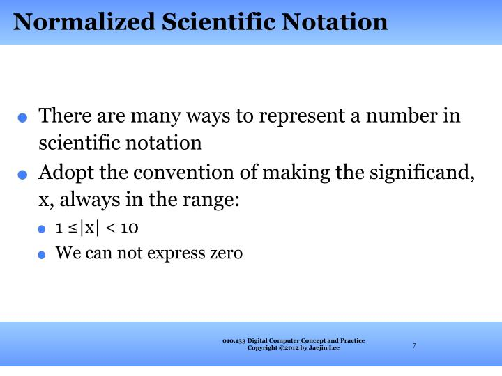 Normalized Scientific Notation