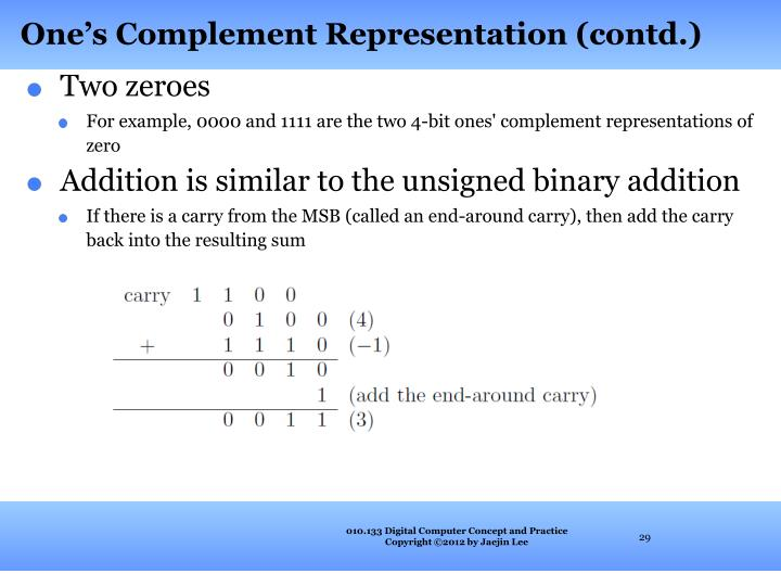 One's Complement Representation (contd.)