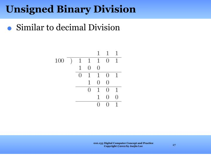 Unsigned Binary Division