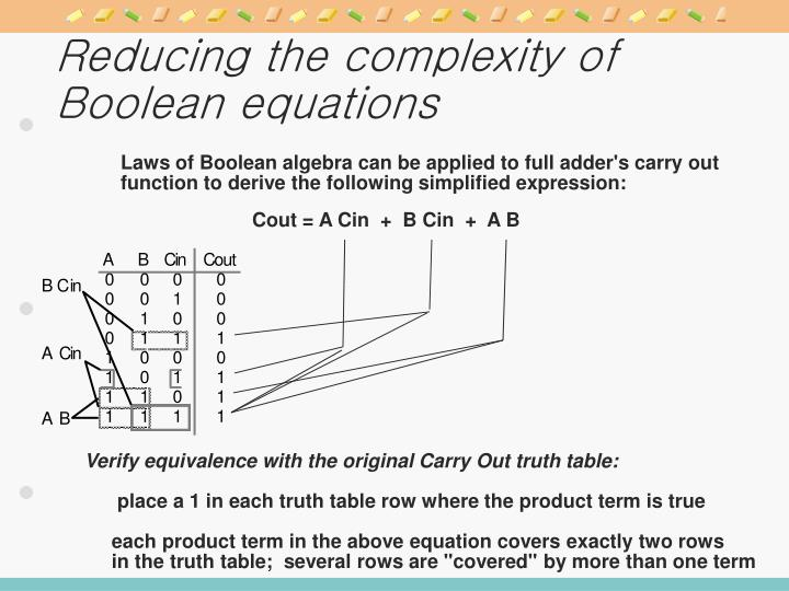 Reducing the complexity of Boolean equations